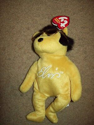 "Ty Beanie Babies Collection """"solid Gold Beanie"""" Elvis Presley 9"" H Mint Condi"