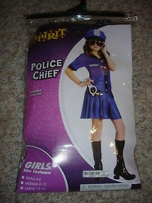 Police Chief Halloween Costume youth girls dress  & hat size (L) large 12/14