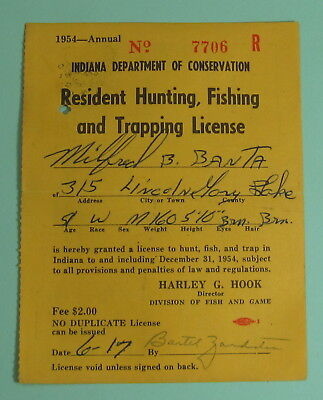 vintage 1954 indiana hunting fishing & trapping license spencer