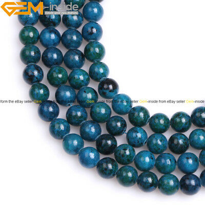 Dyed Round Soomth Green Chrysocolla Beads Gemstone for Jewelry Making Strand 15""