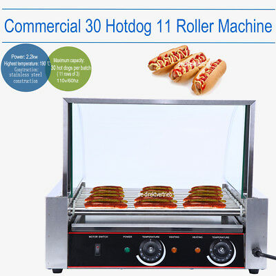 Commercial 30 Hot Dog 11 Roller Grill Stainless Steel Cooker Machine w/ Cover