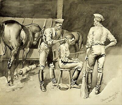 A Haircut in a Cavalry Stable by Frederic Remington Giclee Repro on Canvas
