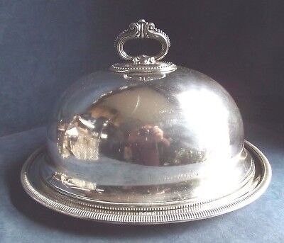 SUPERB Large ~ SILVER Plated ~ Platter / Food COVER & PLATTER ~ c1900