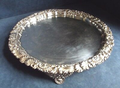 """SUPERB Large 15"""" ~ SILVER Plated ~ CAST Serving SALVER / TRAY ~ c1850"""