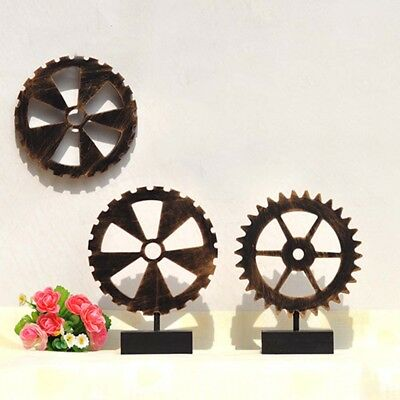 1Pcs New Industrial Antique Vintage Gear Wall Art Wooden Home Bar Cafe Decor