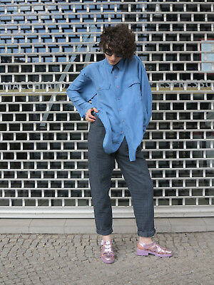 Seidenhemd hellblau 100% Seide 90er True VINTAGE 100% silk shirt light blue 90s