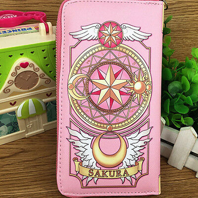 US Anime Card Captor Sakura Cosplay The Clow Long Zip Wallet Purse Coin Bag Pink