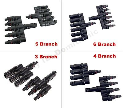 MC4 T Type Branch Solar Panel Cable Photovoltaic Male to Female Connectors IP65