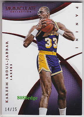 2014-15 Immaculate Collection Red #96: Kareem Abdul-Jabbar #14/25 Lakers Mvp/Hof