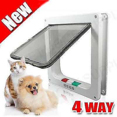 4 Way Lockable Pet / Cat / Small Dog Flap Door Size M White Frame ScreenLocking