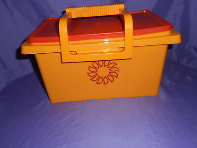 Vtg Maze Orange Tupperware #1431 Lunch Box Pac N Carry All 4Pcs Very Nice Clean!