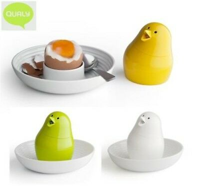 Qualy Jib Jib Egg Cup and Salt Pepper Shaker in White, Green or Yellow