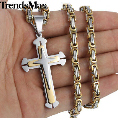 Mens Chain Stainless Steel Gold Silver Byzantine 3-Layer Cross Pendant Necklace