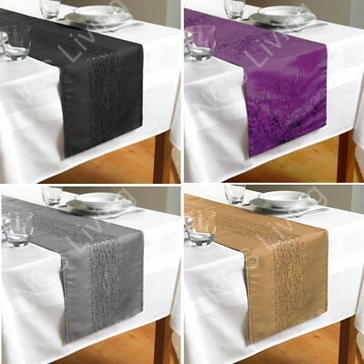 Quality Embroidered Taffeta Sequin Table Runner Party Decor Dining Table