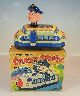 Yone 2164 Tin Toy Blech Japan Crazy Train Wind Up Toy in O-Box #1408