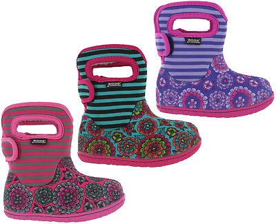 Bogs Wellingtons Boots Baby Pansy Waterproof -10 Fur Lined Neo-Tech Kids UK 4-9