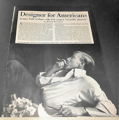 1949 Designer Jacques Fath Of Paris Sells U S Women Wearable Glamour Mag Spread