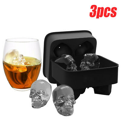 1-3X Skull Shape 3D Ice Cube Mold Maker Bar Party Silicone Trays Halloween Mould
