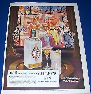 1941 Gilbey's Gin Charles Dye Middle East Men art Ad ~ the sun never sets.....