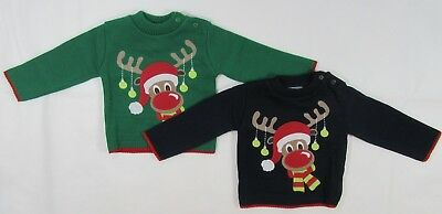 Baby Babies Girls Boys Jumper Sweater Reindeer Christmas Novelty Knit Xmas 1 2