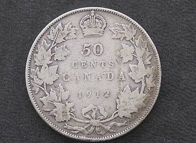 1912 Canada Fifty Cents .925 Silver Coin D8628