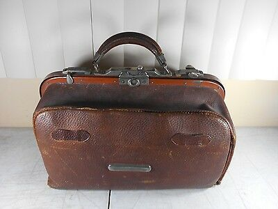 Antique Brown Leather Valise Travel Bag Luggage Doctors Bag  cir. 1890's