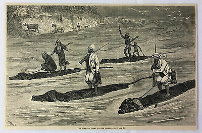 1878 magazine engraving ~ BUFFALO FERRY ON THE TIGRIS