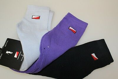 3 pairs JRB Padded Sole/Heel Golf Ankle Socks Cotton Ebony Grey, Purple, Heather