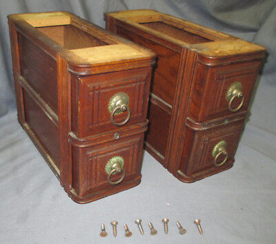 Pair Antique Ornate Oak Excelsior Treadle Sewing Machine Double Drawers Standard