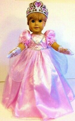 """Pink PRINCESS DRESS Fits 18"""" American Girl Doll Costume CROWN, GLOVES !"""