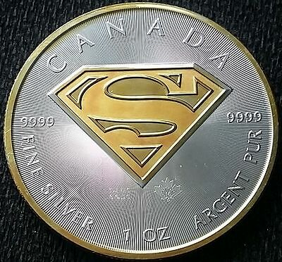 NEW 2016 Canadian Superman . 24k Gold Gilded , 1oz .9999 pure Silver Coin 1