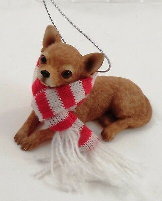 NOS MIB Sandicast Tan Chihuahua Puppy Dog w/ Candy Cane Scarf Christmas Ornament