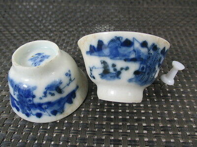 2 alte Porzellan TeeTassen SET China vor 1850 Ming signiert 100% original teacup