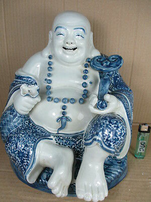 alter happy Buddha charmanter Dicker aus China ~ 1960 Porzellan Ming Stil 28 cm