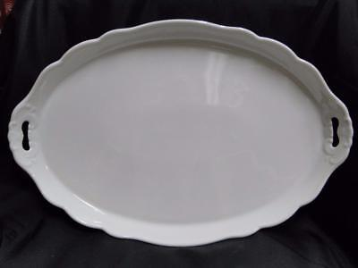 """Scalloped White Porcelain Tray with Embossed Scrolling, 17 1/2"""" x 11 5/8"""""""