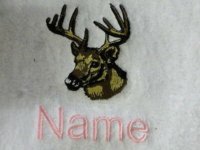 DEER HEAD Embroidered on Towels Bath Robes, Hooded - Personalised name