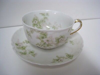 Haviland Limoges Floral Tea Cup & Saucer Gold Accents Subtle Light Pink Flowers