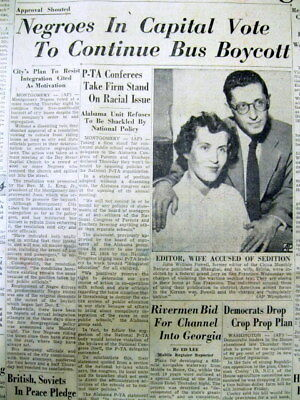 5 1956 Mobile ALABAMA newspapers MONTGOMERY BUS BOYCOTT Civil Rights fight start