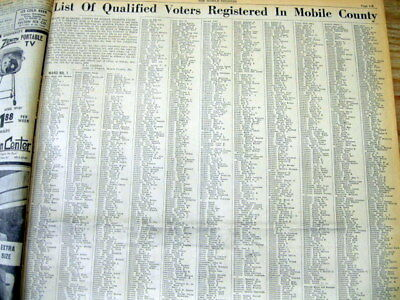 1956 ALABAMA newspaper Long list Names MOBILE COUNTY VOTERS Categorized by Race