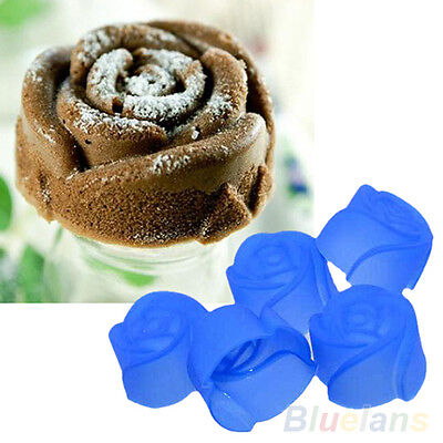 10X Silicone Rose Muffin Cookie CupCake Cuisson Moule Gelée Fabriquant Neuf BE8A