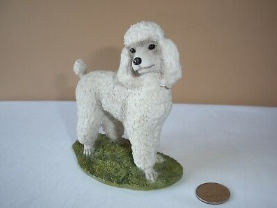 Poodle Figurine White, Puppy Cut On Base, Polyresin No Damage 4 Felt Protectors