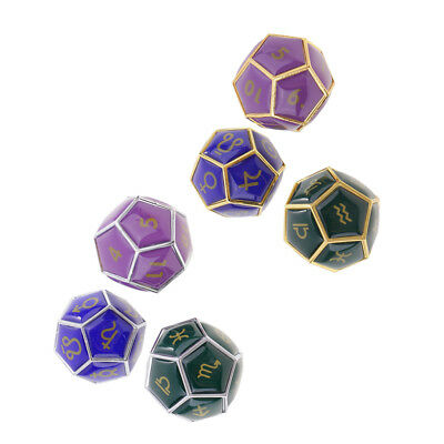 Set of 6 Zinc Alloy 12 Sided Dices Constellation Pattern for Horoscope Toys