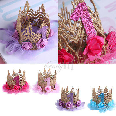 2017 Birthday Crown Flower Headband for Baby Girls Party Hair Bands Accessories