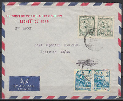 Syrien Syria Cover to Germany, Eisenbahn Railway Chemin de fer [cm954]
