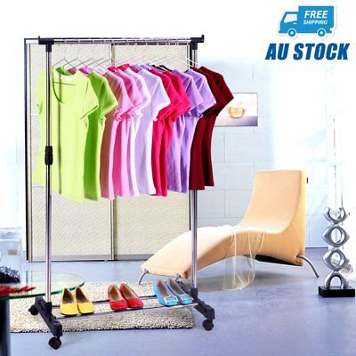 New Single Portable Stainless Steel Clothes Rack Hanger Cloth Garment Dryer AUS