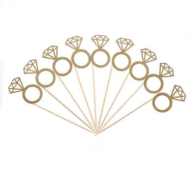 10pcs Diamond Ring Cupcake Toppers Engagement Wedding Party Table Decorations