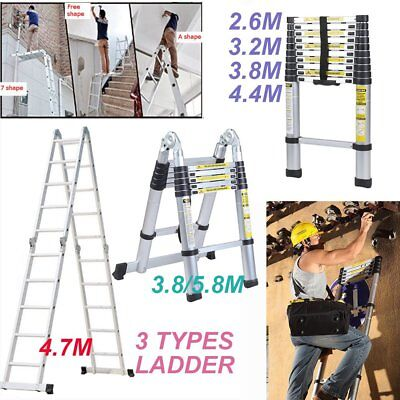 2.6-5.8M Multipurpose Telescopic Folding Ladder Aluminium Alloy Extension Steps^
