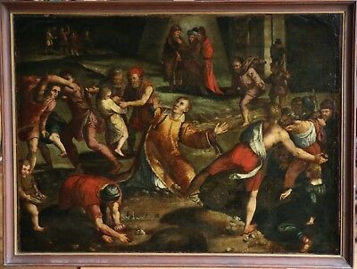16th CENTURY ITALIAN OLD MASTER OIL ON CANVAS - STONING OF SAINT STEPHEN