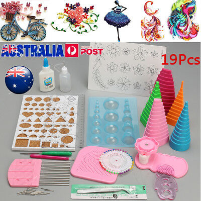 19PCS Paper Quilling Board Mould Crimper Comb Ruler Pins Tools Set DIY Craft Kit