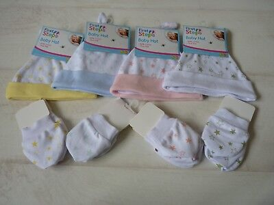 New Born Baby Hat & Matching Scratch Mitts One Size 100% Cotton